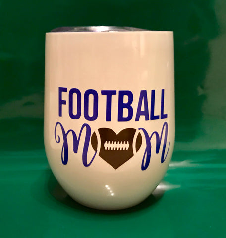 Football Mom Swig Stemless Wine Cup 12 oz