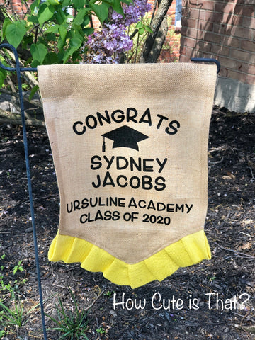 Senior 2020 Graduation Burlap Garden Flag