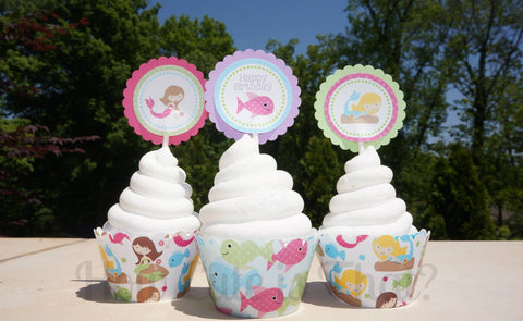 Mermaid Cupcake Wrappers and Toppers