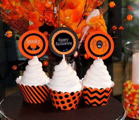 Happy Halloween Cupcake Wrappers and Toppers