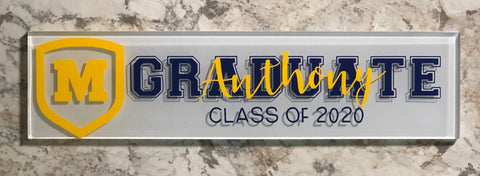 Graduation Subway Tile with High school logo and Graduate with name