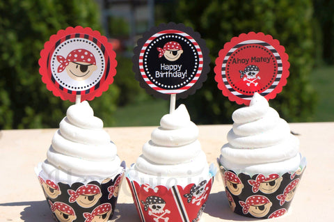 How Cute Is That Pirate Cupcake Wrappers and Toppers