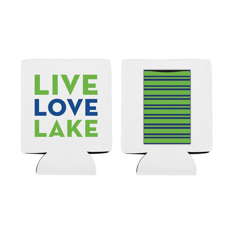 "Can Koozie - Insulated Can Cover with Pocket - ""Live Love Lake"" - Slant Collections"