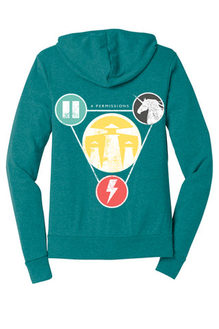 The 4 Permissions Hoodie - Teal Unisex