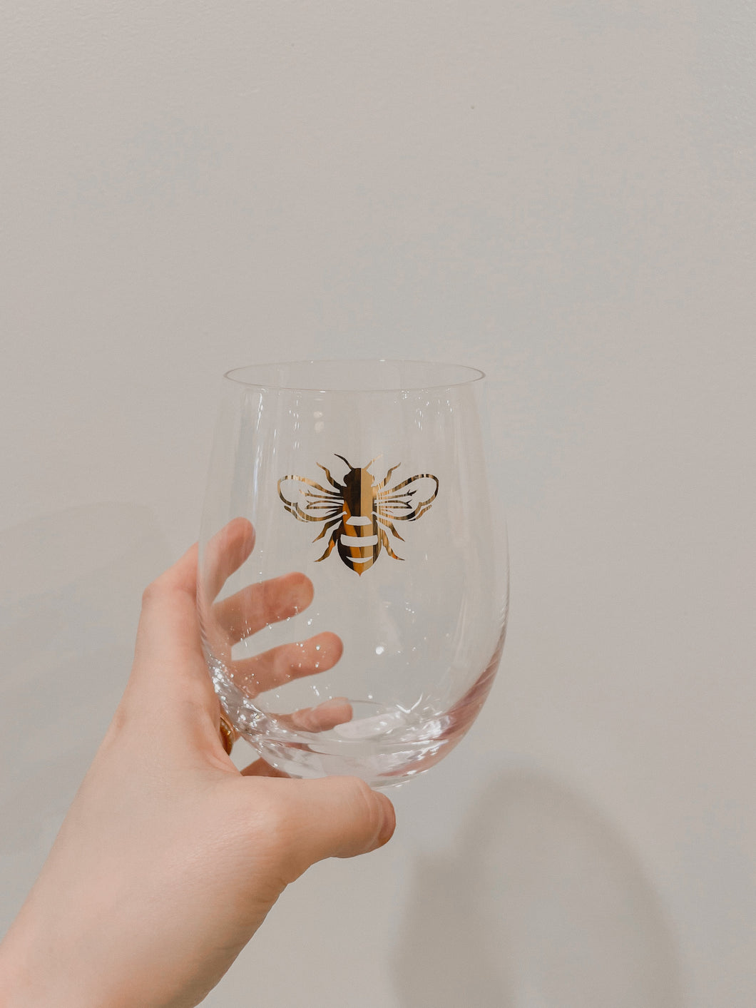 Wine Glass - Stemless Gold Bee