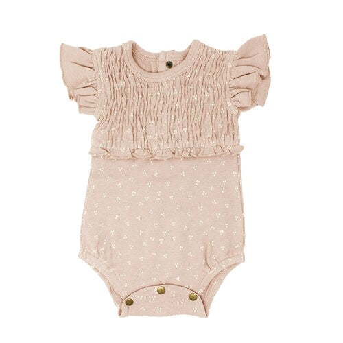 L'oved Baby Bodysuit - Smocked sleeveless Rosewater Dots