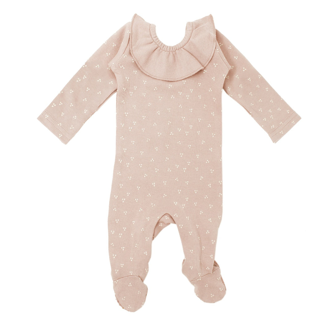 L'oved Baby Sleeper - Ruffle Footie Rose Water Dots