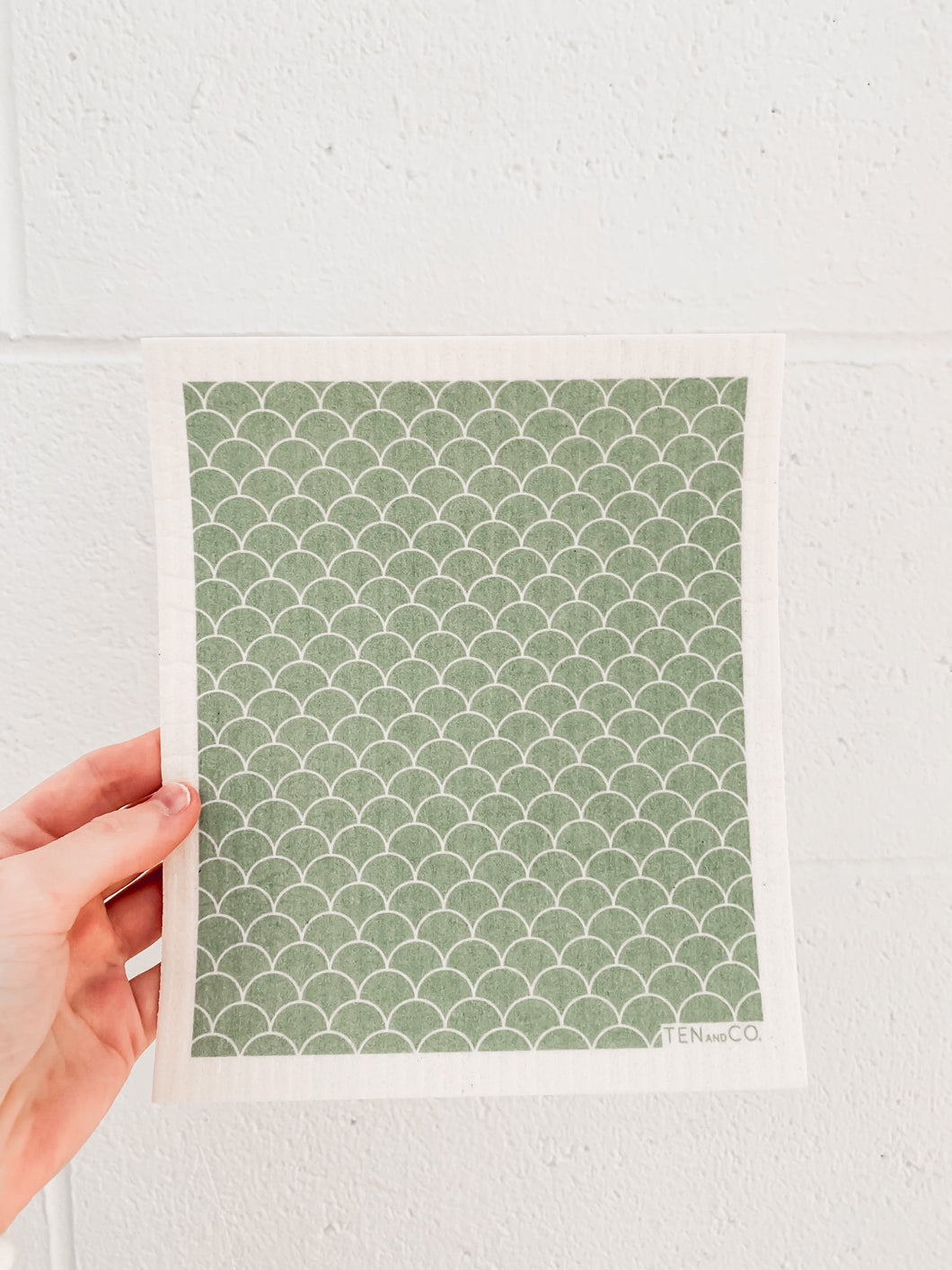 Swedish Dish Cloth - Green Scallop