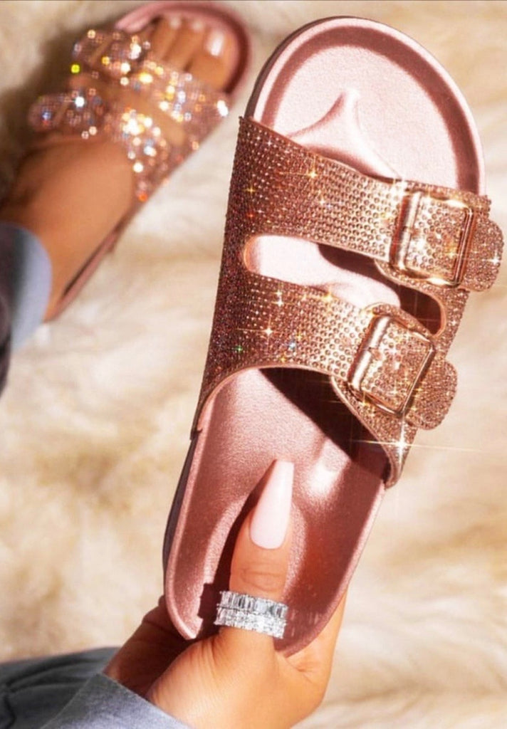 Rose Gold Diamante Buckle Sliders