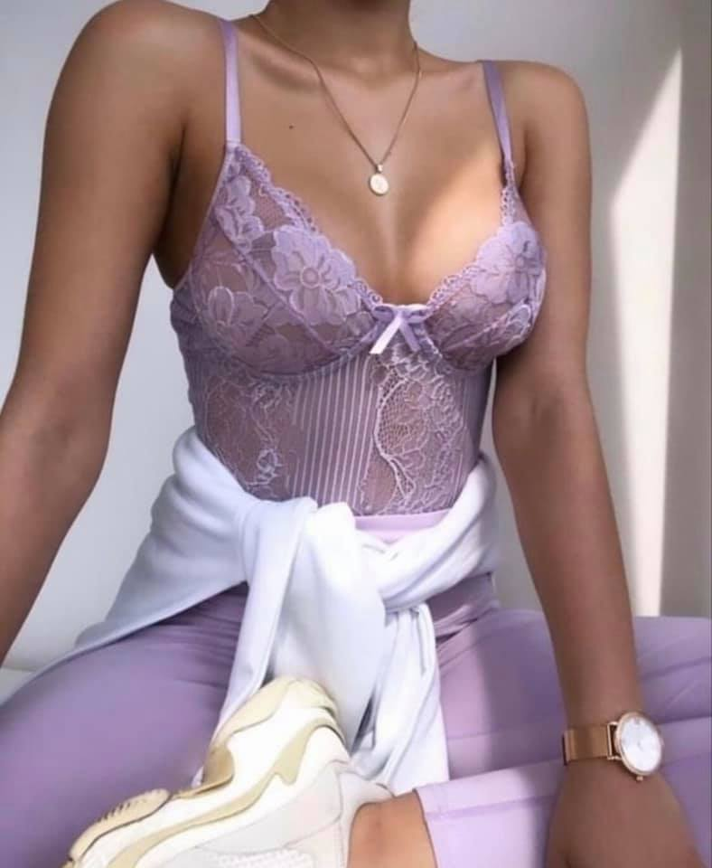 Lilac Lace High Waisted Bodysuit