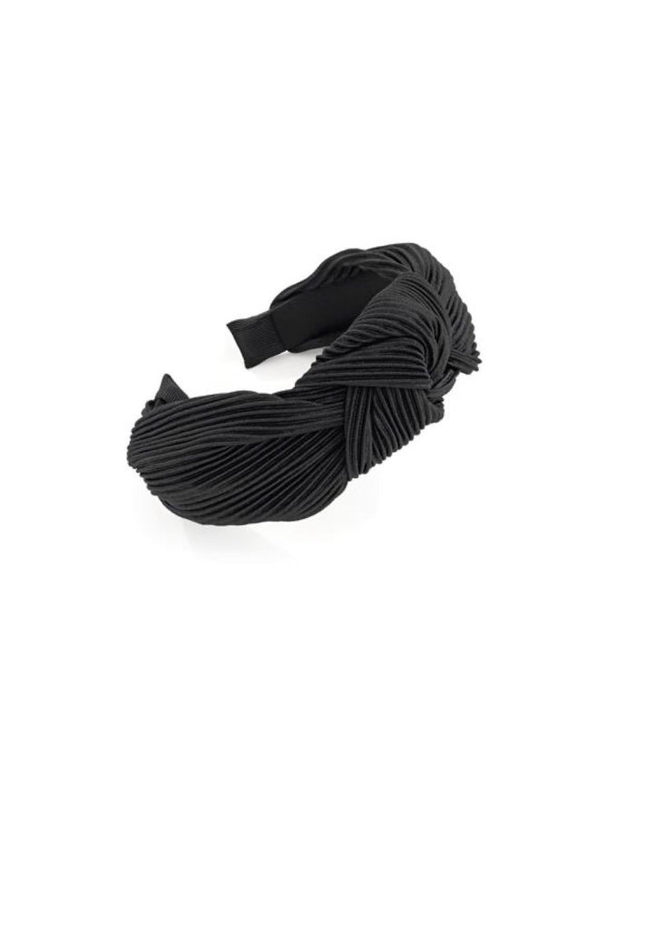 Black Crinkle Knot Headband