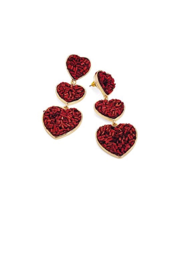 Red Beaded Heart Drop Earrings