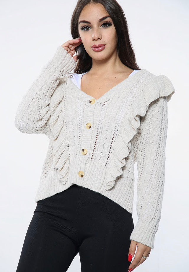 Nude Ruffle Button Knit Cardigan
