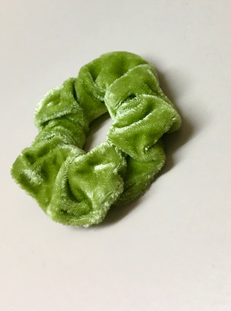 Lime Green Velvet Scrunchie
