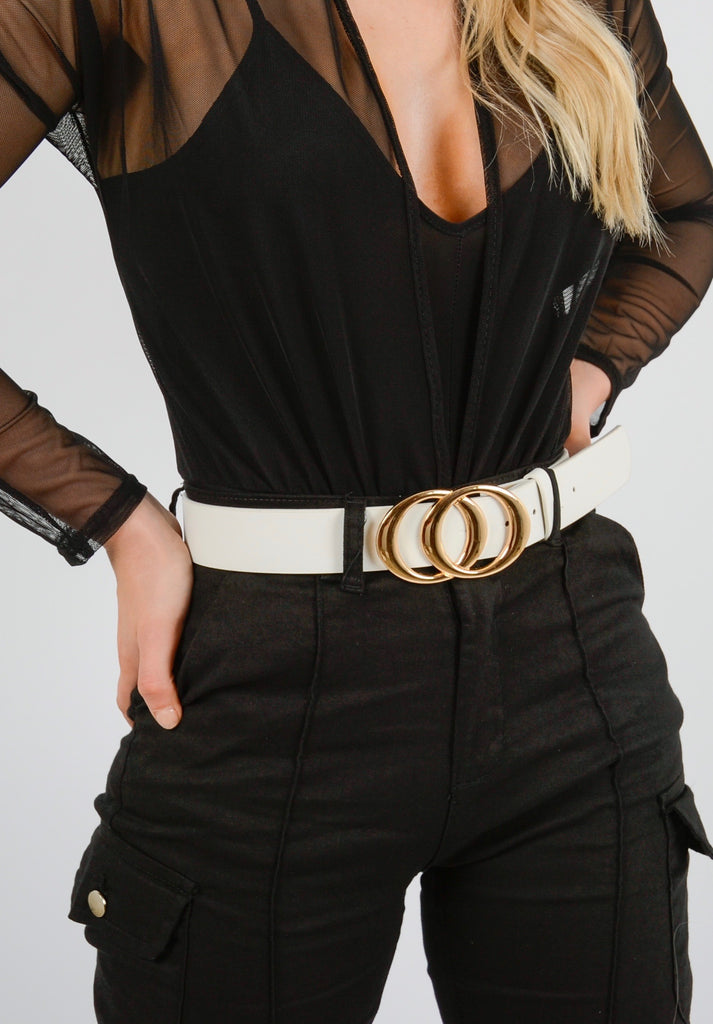 White Circle Buckle Belt