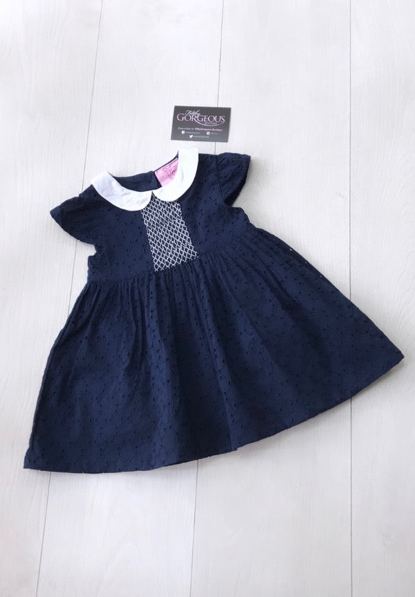 Baby Girls Navy Cotton Skater Dress
