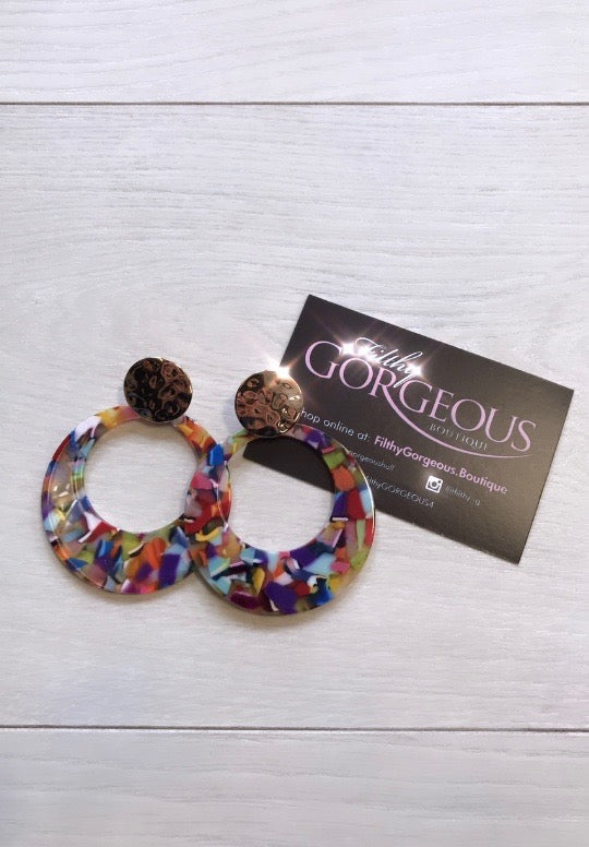 Colourful Marble Hoop Earrings