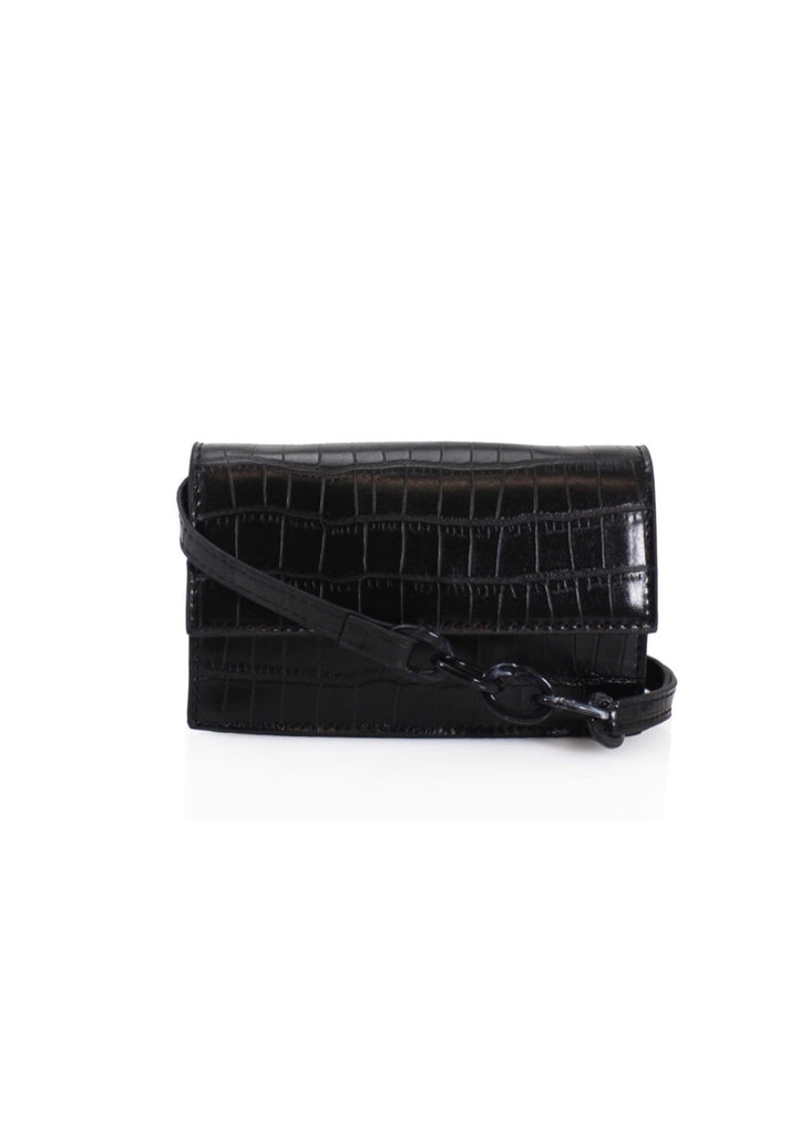 Black Croc Print Crossbody Bag