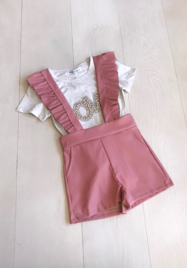 Childrens PU Pinafore Playsuit