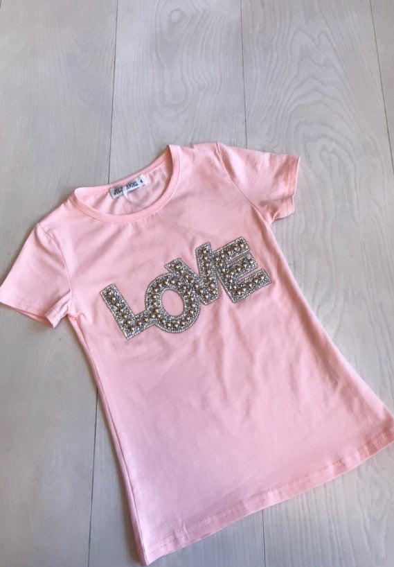Childrens Pink 'Love' Tee