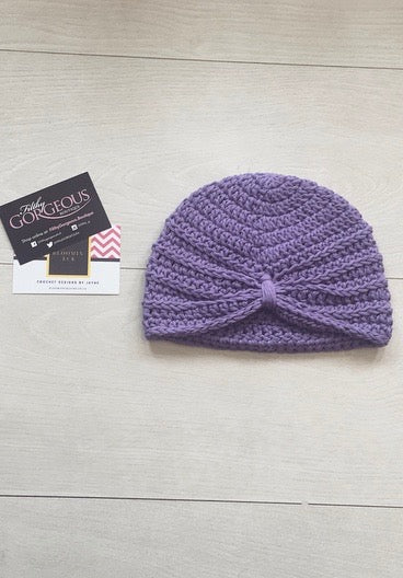 Baby Girls Plain Purple Crochet Knot Turban (6-12M)