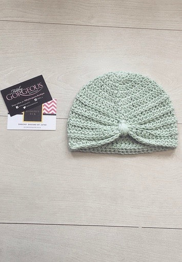 Baby Girls Mint Crochet Knot Turban (6-12M)