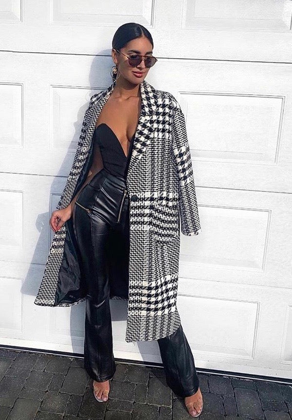 Monochrome Checkered Coat