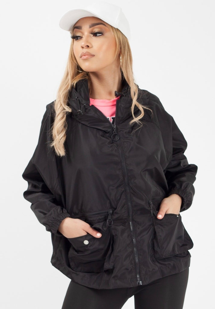Black Hooded Rain Parka Jacket
