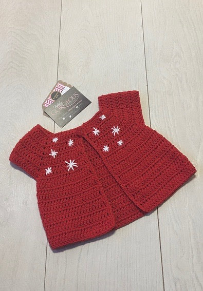 Babys Red Crochet Snowflake Cardigan