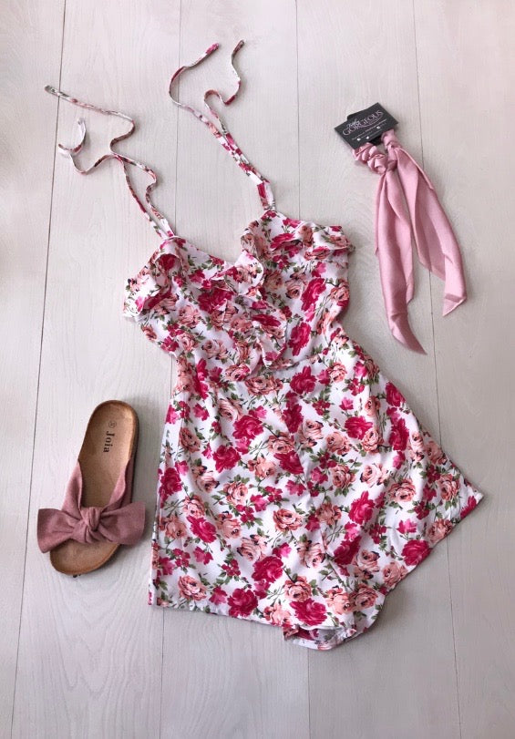 Rose Tie Frill Playsuit