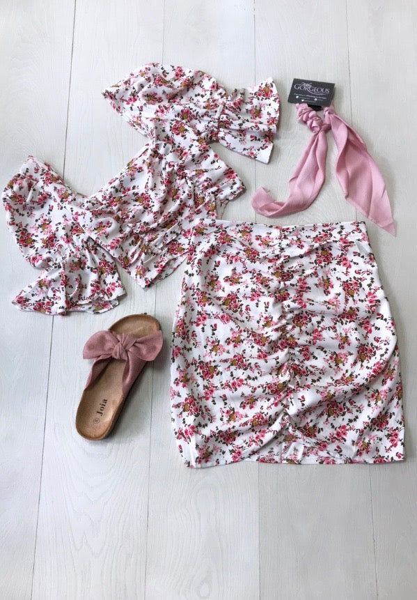 Floral Ruched Twin Set