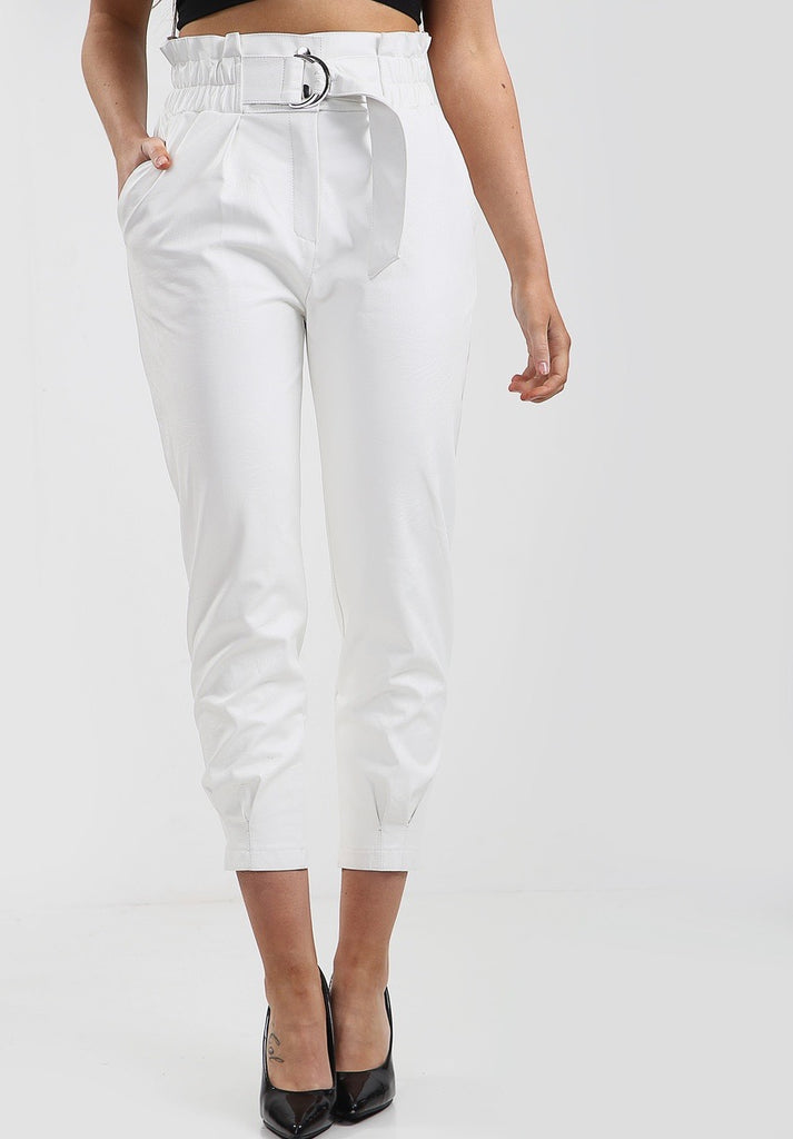 White Faux Leather Trousers