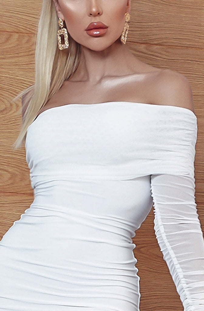 White Ruched Mesh Bardot Dress