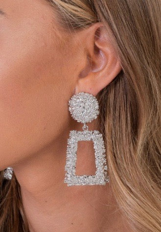 Silver Textured Drop Earrings