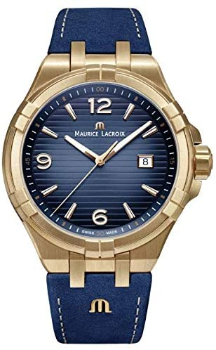 Maurice Lacroix Men's Aikon Swiss Quartz Watch with Leather Strap, Blue