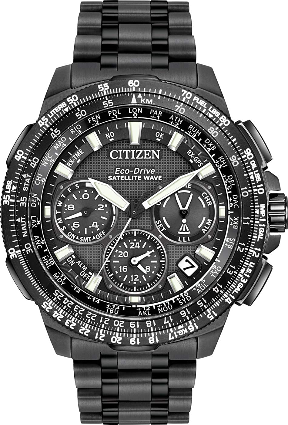 Citizen Eco-Drive Analogue Round Black Dial with Sapphire Crystal and Black Steel Black PVD Band 200 m Water Resistant Quartz Date Chronograph 47 mm Business Luxury Men's Wrist Watch
