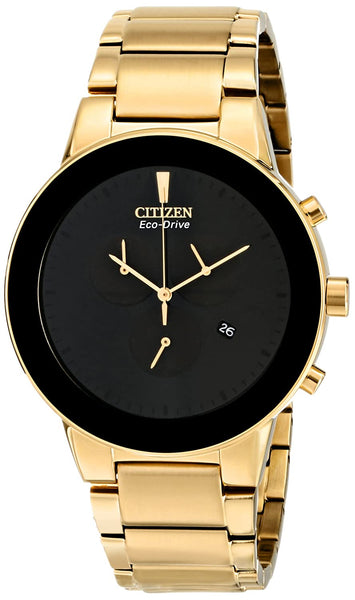 Citizen Analogue Men's Watch (Black Dial Gold Colored Strap)