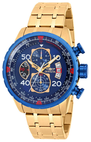 Invicta Aviator Men's Wrist Watch Stainless Steel Quartz Blue Dial