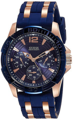 Guess Analogue Men's Watch (Blue Dial Blue Colored Strap)