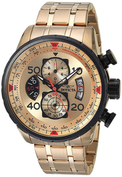 Invicta Aviator Analog Gold Dial Men's Watch