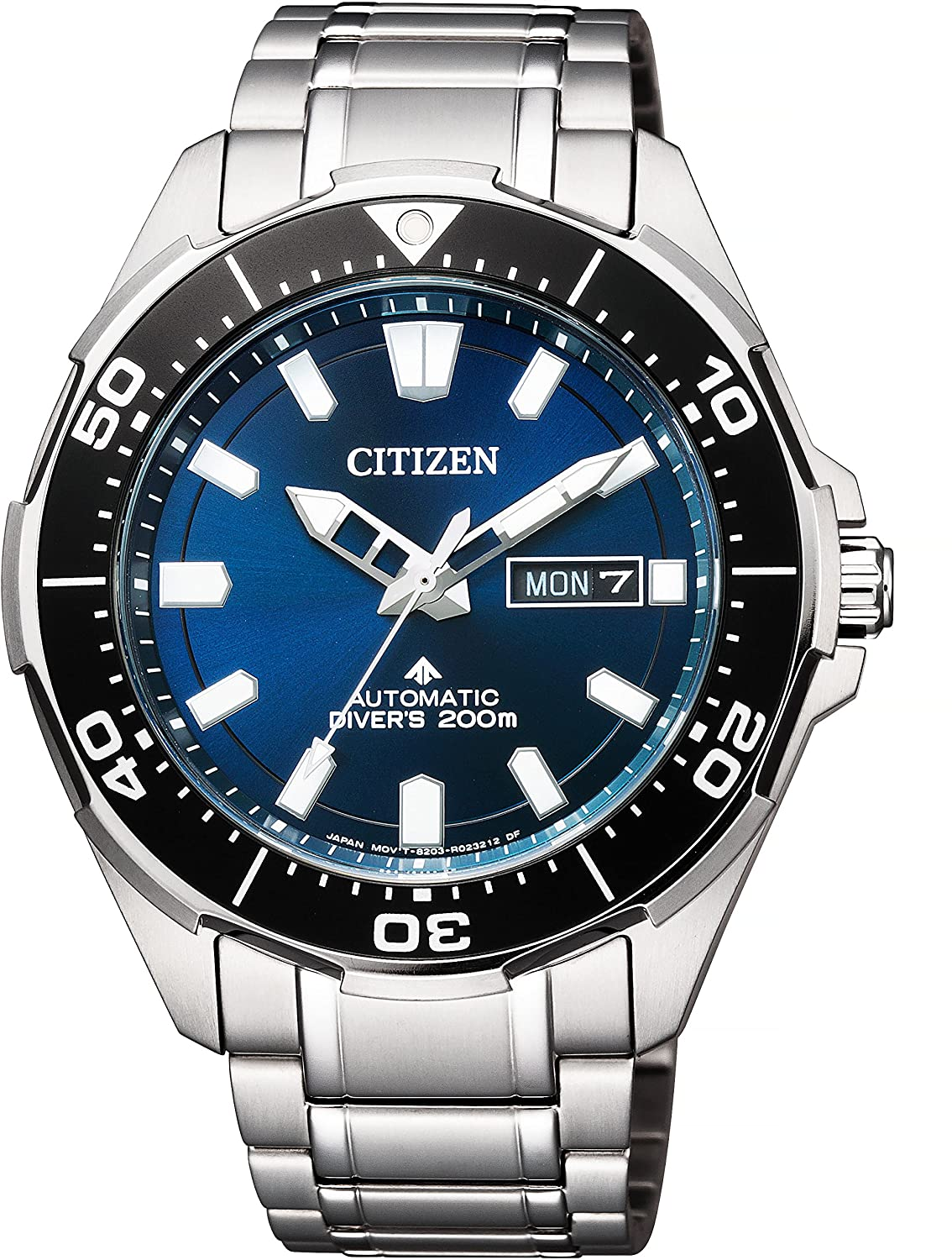Citizen Eco-Drive Mens Automatic Day-Date Wrist Watch Analog 46 mm Round Blue Dial with Sapphire Crystal and Silver Steel Band 200m Water Resistant Business Genuine Luxury Watches - for Men