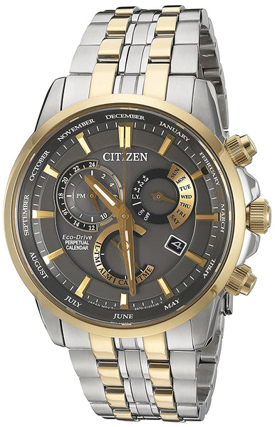 Citizen Eco-Drive Men's 'Perpetual Calendar' Quartz Stainless Steel Casual Watch, Color: Two-Toned
