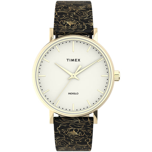 Timex Fairfield Floral Gold Black