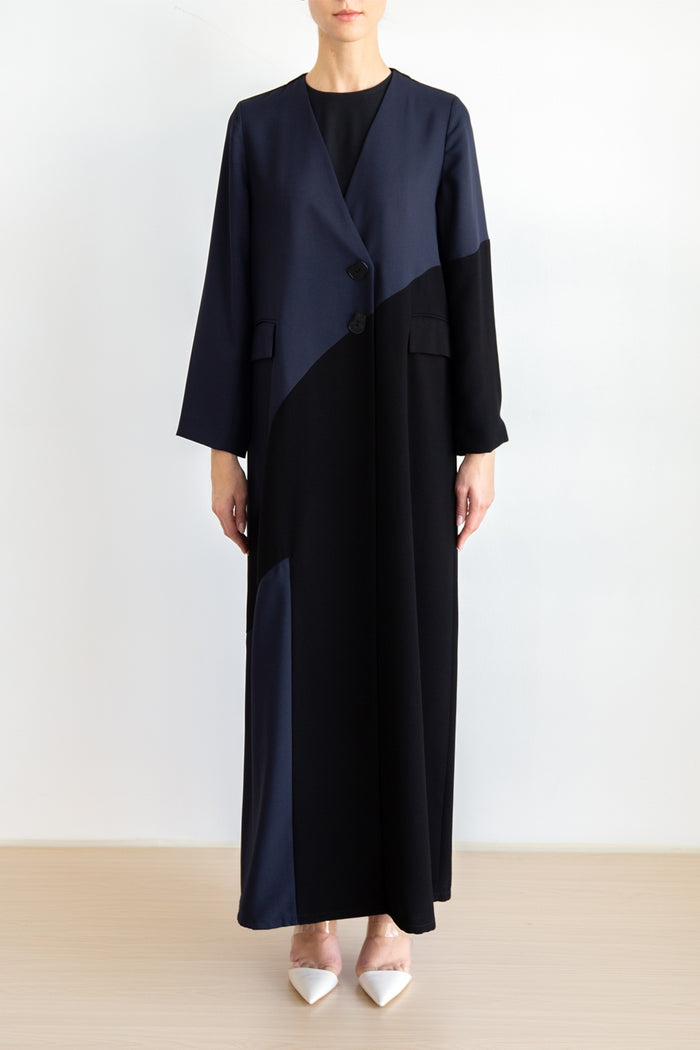 Asymmetrical color block coat abaya with button details