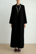 Asymmetric wave collar embellished Abaya