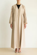 Beige-Black color block Abaya with gathered panels and button detail
