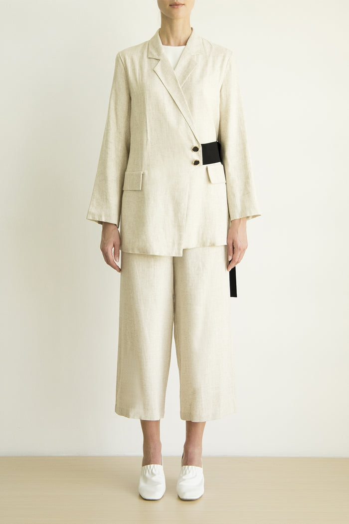 Beige coat jackets with side belt and square pants