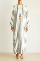 Black & White striped Linen abaya with button detail