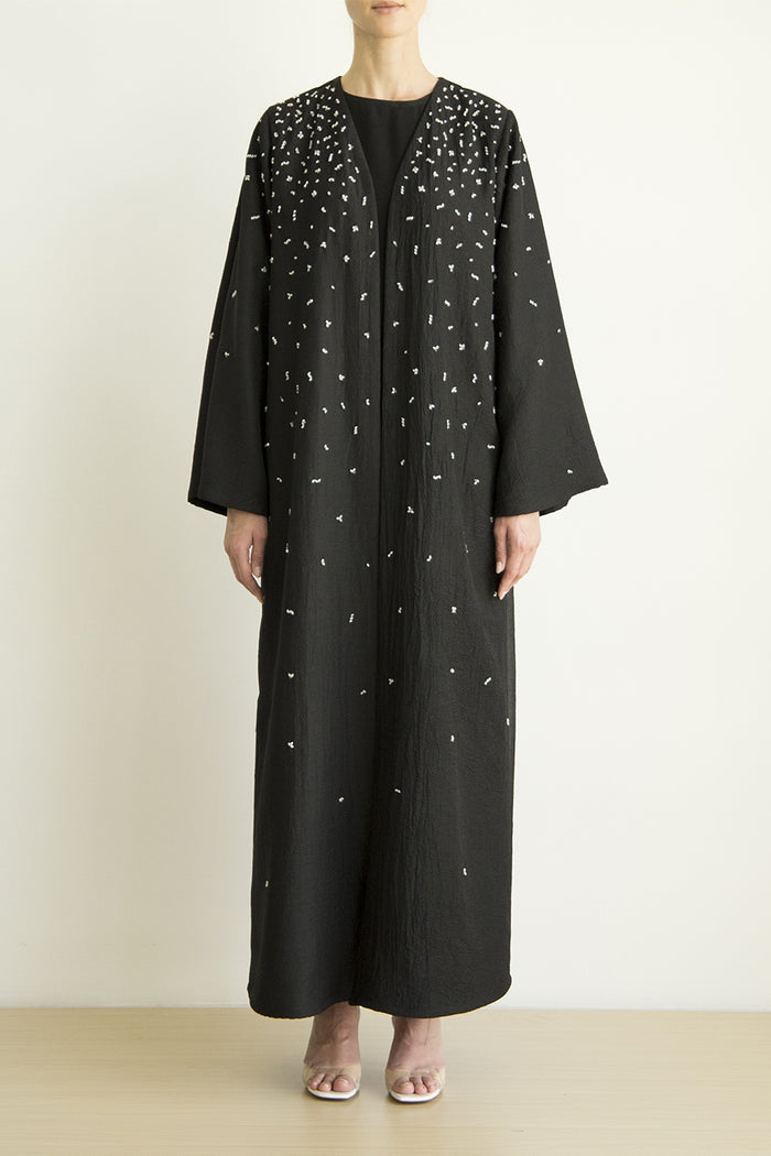 Classic organza Abaya with scatter crystal Embroidery detail