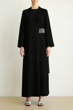 Coat abaya with crystal embellished belt